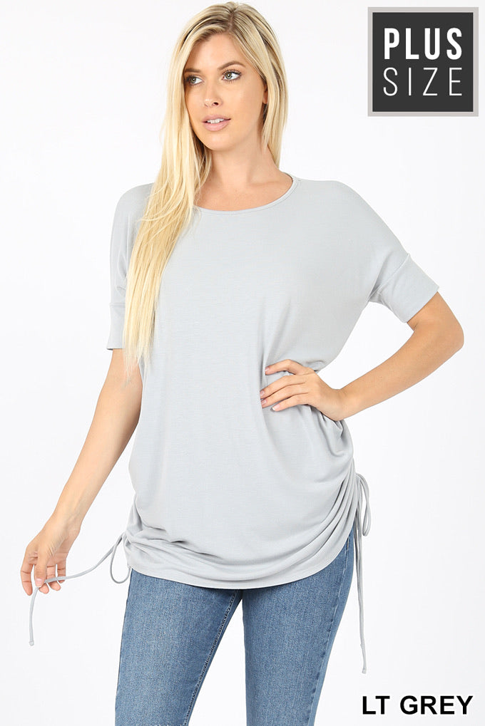 0810 Light Grey short Sleeve Top (PLUS)