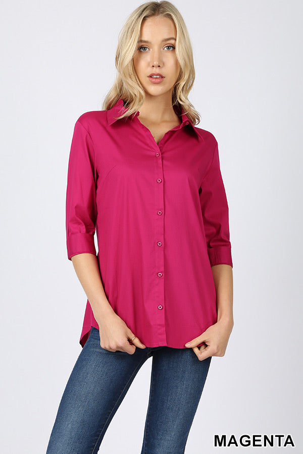 0821 Pink Button up Half Sleeve