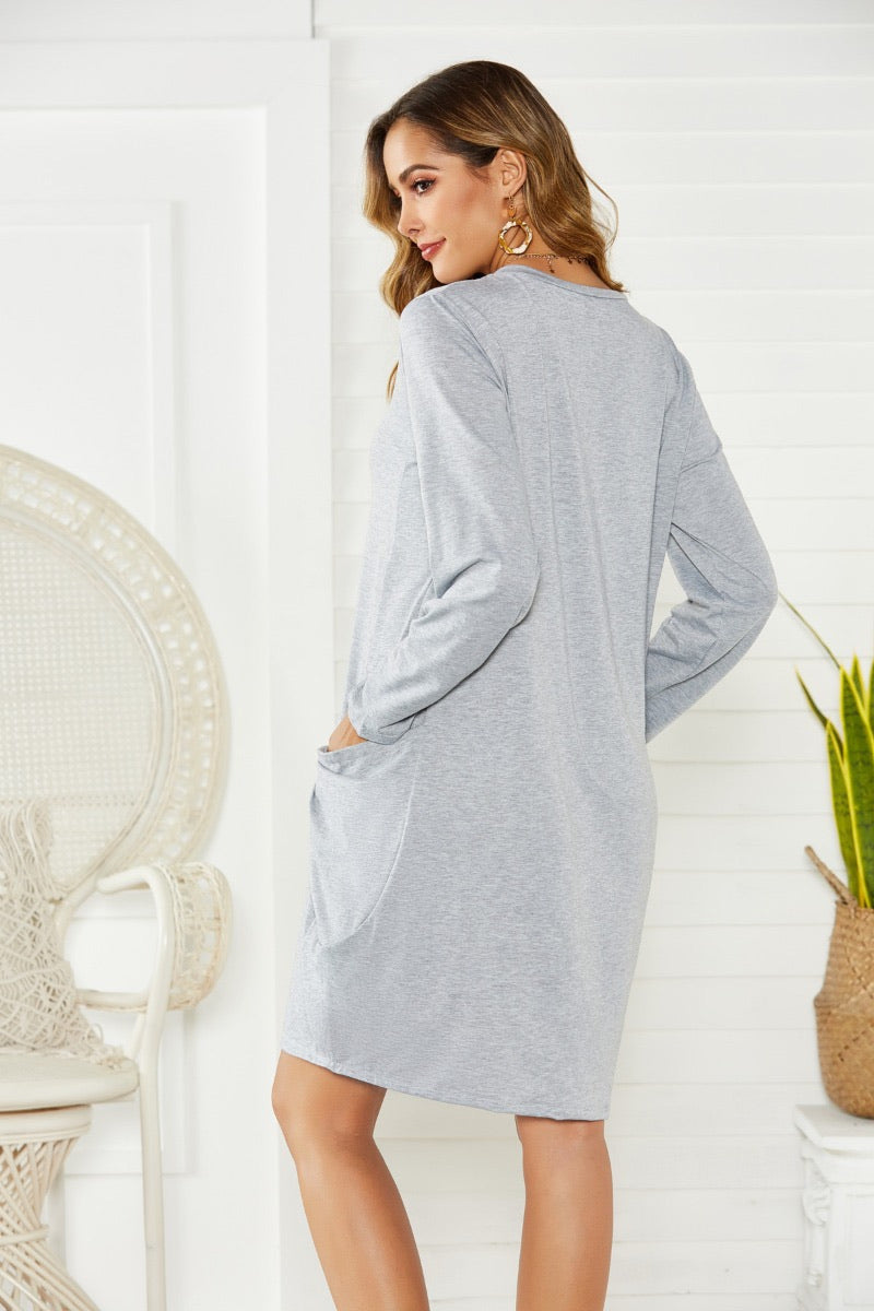 2035 Grey Long Sleeve Short Dress With Pockets