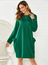 Load image into Gallery viewer, 2036 Army Green Long Sleeve Dress With Pockets