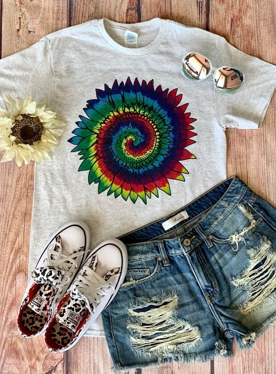 0002 Rainbow Sunflower Tee
