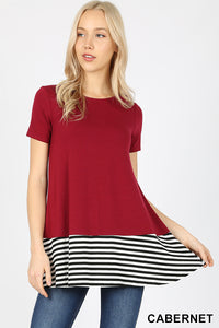 0818 Maroon Short Sleeve Top With White And Black Stripes