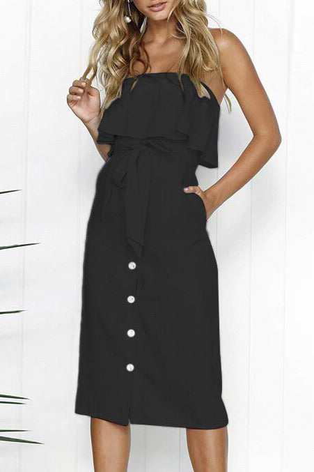 2011 off the shoulder black button up dress
