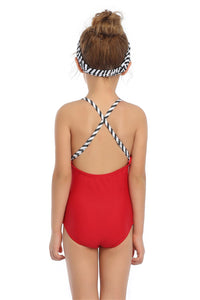 Ksw04 Black Red And White Stripes One piece (KIDS)