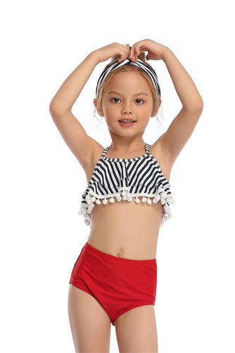 Ksw11 Red And White Stripes Top With Red Bottoms (KIDS)