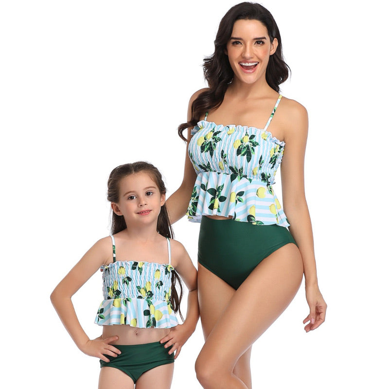 Ksw14 Baby Blue And White Lemon Top With Dark Green Bottoms (KIDS)