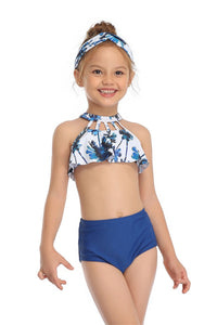 Ksw10 Palm Tree Ruffle top with Dark Blue Bottoms (KIDS)