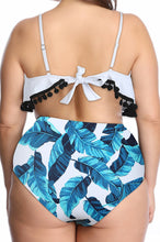 Load image into Gallery viewer, SW13 Blue Leaf High Waist Swim Bottoms Plus