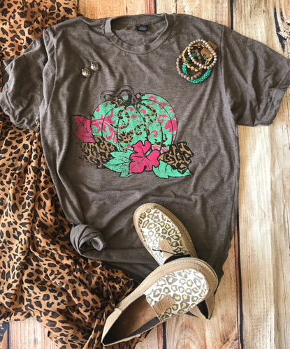 0030 Brown Leopard Pumpkin Tee