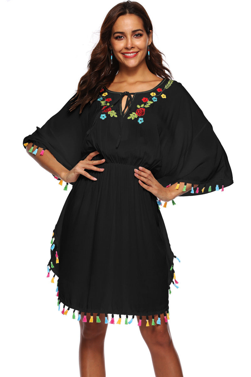 0005 Black Floral Short Dress With tassels