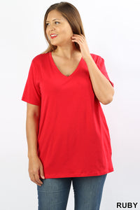 0823 Red V-neck Top (Plus)