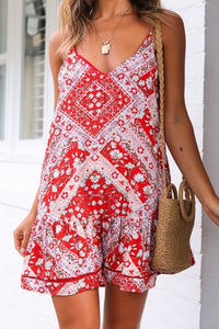0001 Spaghetti strap Floral Red Short Dress