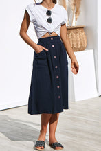 Load image into Gallery viewer, 2047 Navy Blue Button Up Skirt