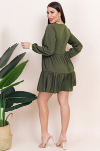 2004 Long sleeve olive short dress