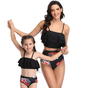 Ksw08 Black Ruffle Top With Floral Bottoms (KIDS)