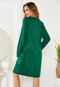 2036 Army Green Long Sleeve Dress With Pockets