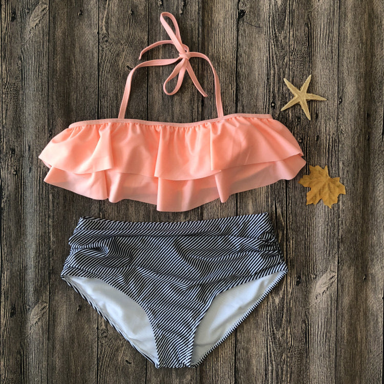 SW4 Coral Off The Shoulder Ruffle Swim Bottom