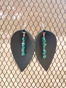 Leather and Turquiose Nuggets Earrings-EL-57-0002