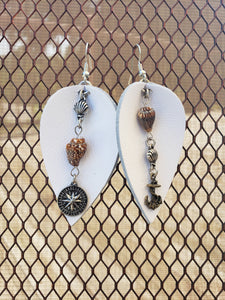 Leather with Shell Charm Earrings-EL-57-0003