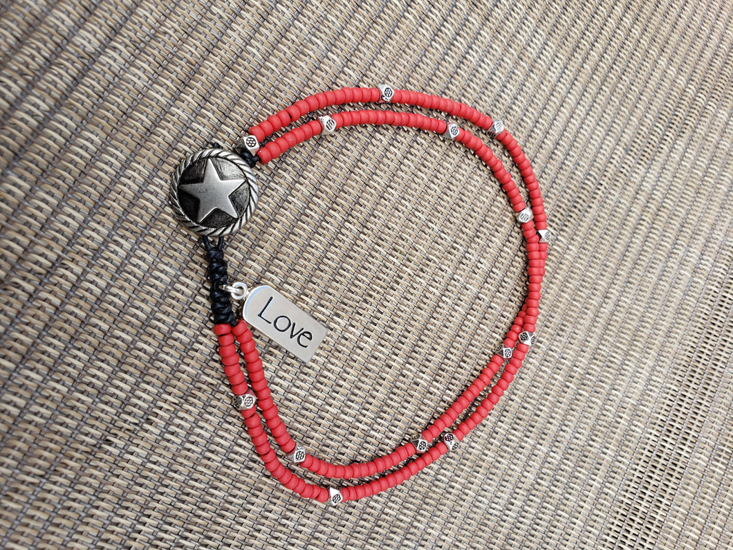 Red Frosted Anklet-A8S-95-0001