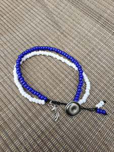Blue and White Anklet-A6S-75-0001
