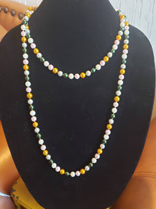 Multi-Colored Pearl Knotted Necklace-N8-52-0002