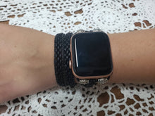 Load image into Gallery viewer, Matte Jet Leather Apple Watch Band-WB-LB-0001