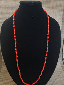 Bright Coral Knotted Necklace-N6-36-0007