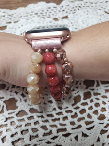 Peach Beaded Apple Watch Band-WB-EB-0001