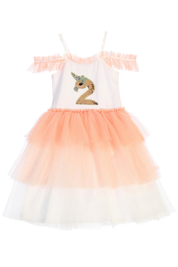 Flamingo-corn Flip Sequin Tutu Dress