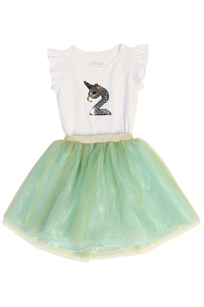 Flamingo-corn Shirt + Tutu Skirt