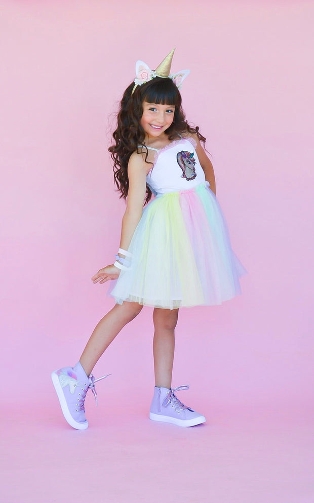 Unicorn Flip Sequin Tutu Dress