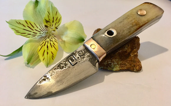 Custom belt knife forged carbon steel EDC everyday carry knife with mokume gane bolster bone handle Metals Artisan