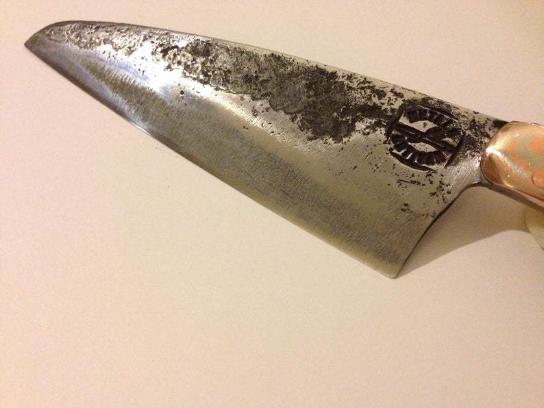 hand-forged Santoku-style knife by Metals Artisan