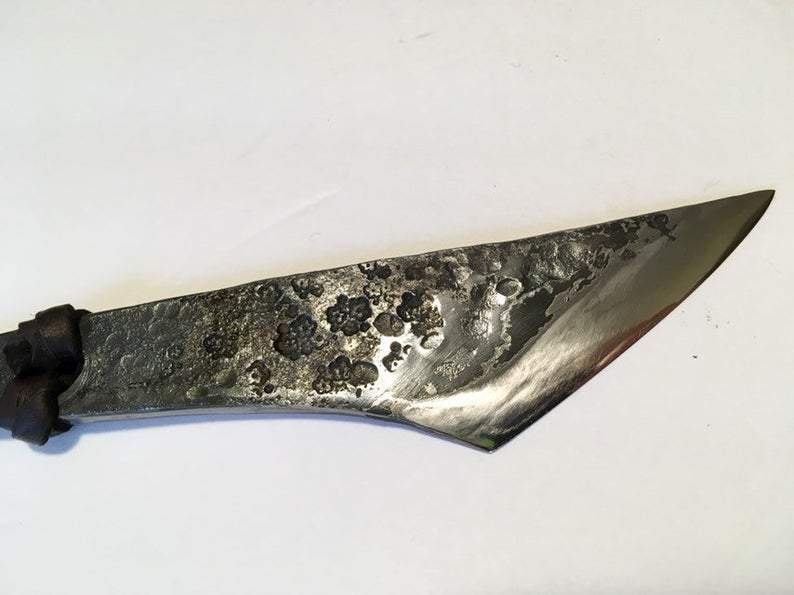 hand-forged flower stamped kiridashi by Metals Artisan