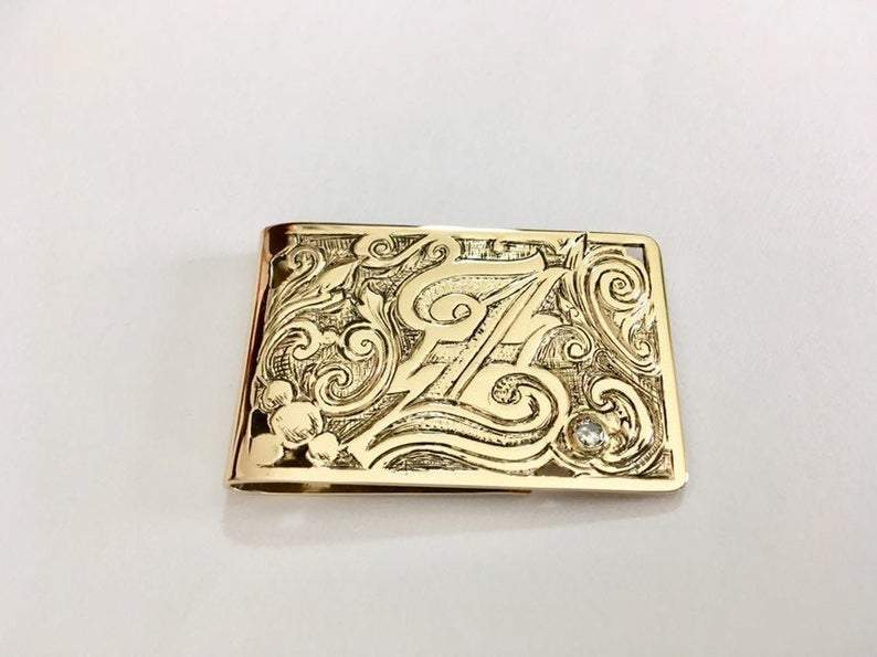 handmade engraved 14K gold custom money clip with diamond accent