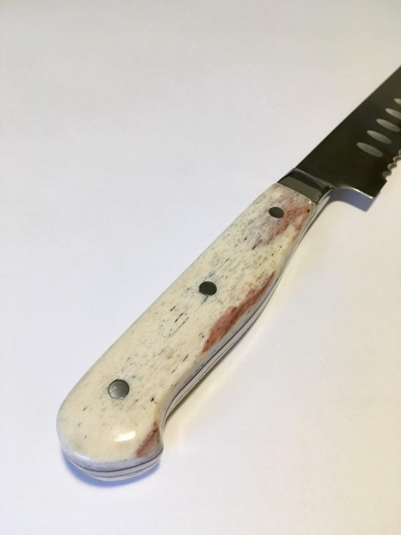 VG-10 serrated steel challah knife with custom handle
