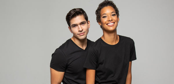 man and woman wearing premium t shirts