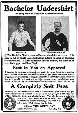 An early 20th century ad for the Bachelor Undershirt