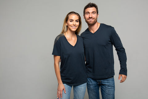 Man and woman in black T-shirts