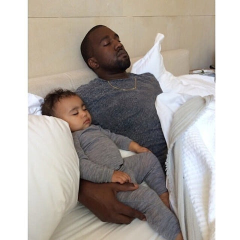 Kanye West with his daugher