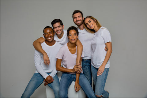 Friends wearing white Classic T-shirts