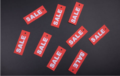A collection of sale tags