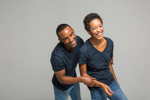 man and woman wearing durable T shirts