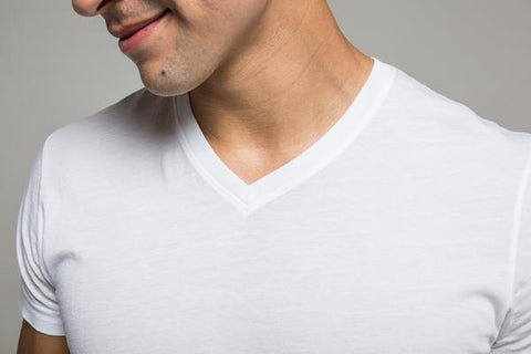 A man wearing a high quality V-neck T-shirt