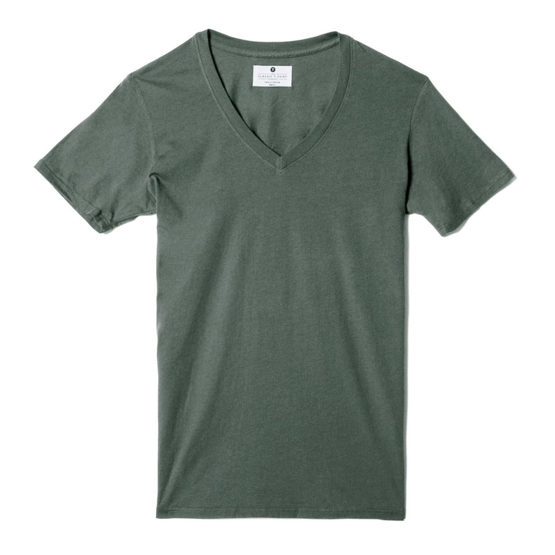green organic cotton V-Neck t-shirt - flat view