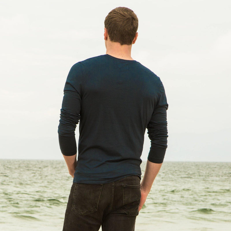 navy-blue organic long sleeve cotton t-shirt - back