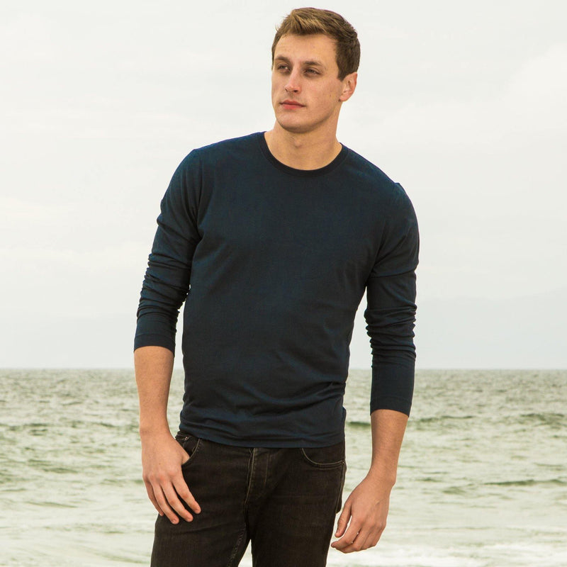 navy-blue organic long sleeve cotton t-shirt - front