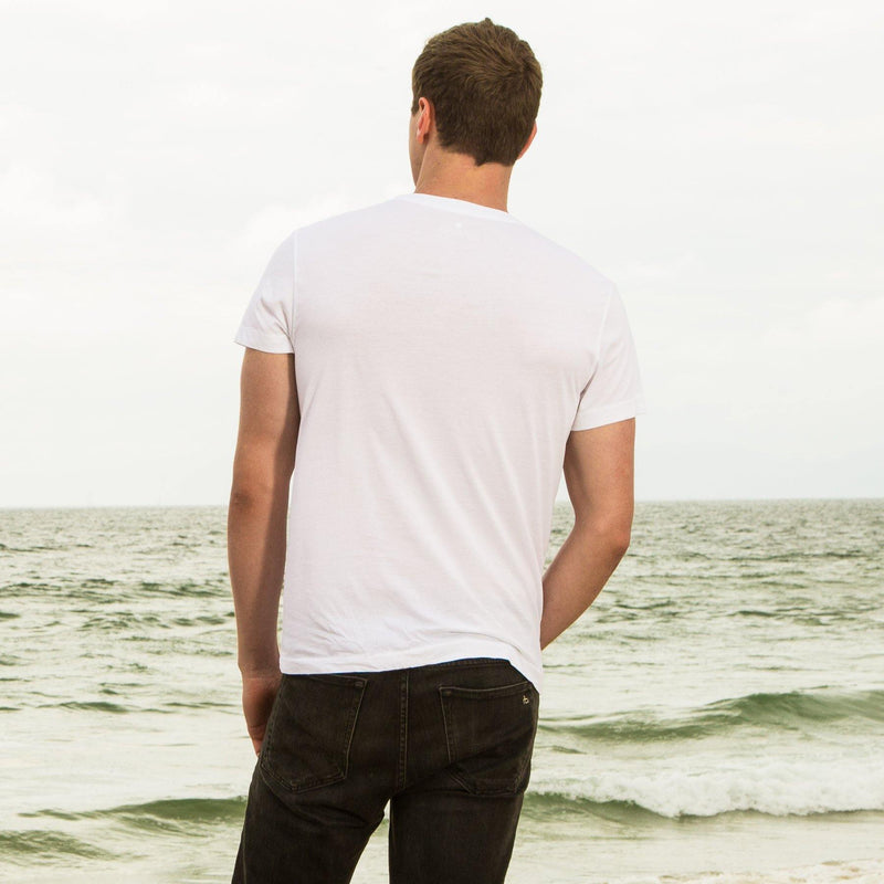 white organic cotton V-Neck t-shirt - back view