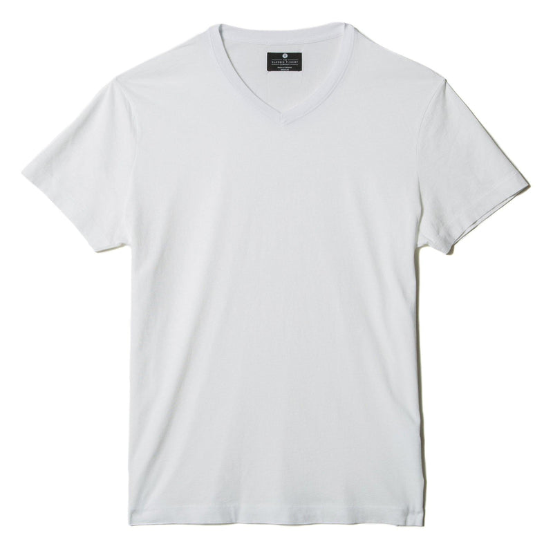 white organic cotton V-Neck t-shirt - flat view